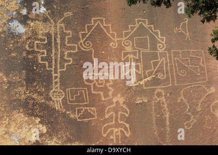 Native American petroglyphs in Lobo Canyon, Cebolla Wilderness, New Mexico. Digital photograph - Stock Photo