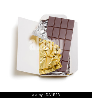 Chocolate bar wrapped in foil with open cardboard on white background, clipping path included - Stock Photo