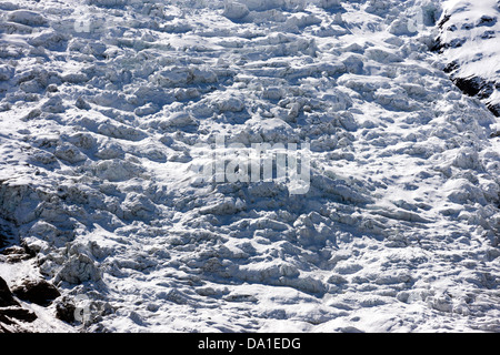 Bossons Glacier seen from Chamonix Mont Blanc - Stock Photo