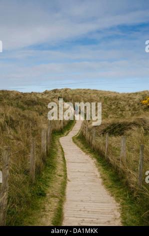 Elderly couple walking dog along wooden walkway leading to Gwithian beach Cornwall UK - Stock Photo