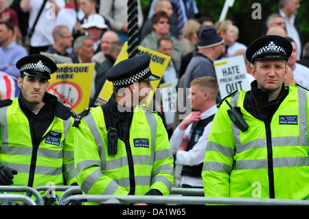 Police at English Defence League march and counter demonstration in central London, 2013 - Stock Photo