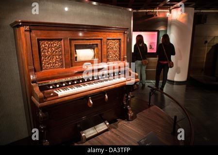 BRUSSELS, Belgium - The Musee des Instruments de Musique (Musical Instrument Museum) in Brussels contains exhibits - Stock Photo