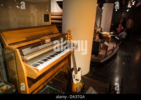 BRUSSELS, Belgium - An organ and bass guitar on display at the Musical Instrument Museum in Brussels. The Musee - Stock Photo