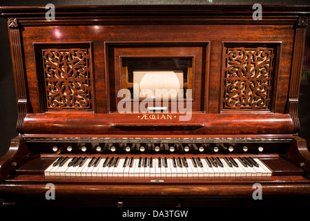 BRUSSELS, Belgium - A harmonium built by the Aeolian Organ and Music Co in New York around 1890 on display in the - Stock Photo