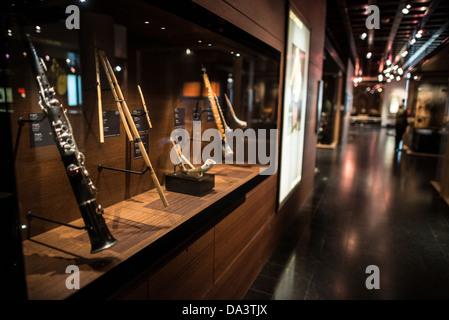 BRUSSELS, Belgium - Wind instruments on display at the Musical Instrument Museum in Brussels. The Musee des Instruments - Stock Photo