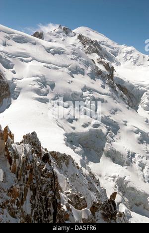 French Alps, Chamonix Mont Blanc, Aiguille du Midi - Stock Photo