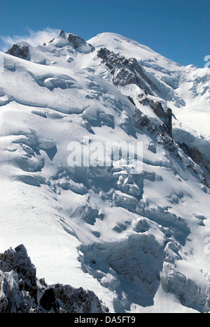 Mont Blanc from Aiguille du Midi, Chamonix Mont Blanc, French Alps - Stock Photo