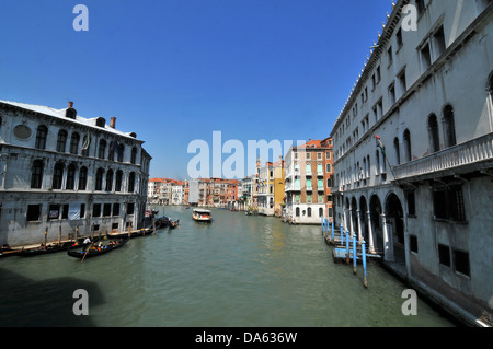 View from the Rialto Bridge over the Grand Canal, in Venice, Italy - Stock Photo