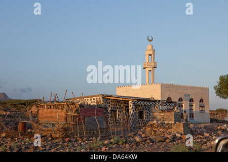 Tadjoura, Red Sea, Africa, tourism, Djibouti, minaret - Stock Photo