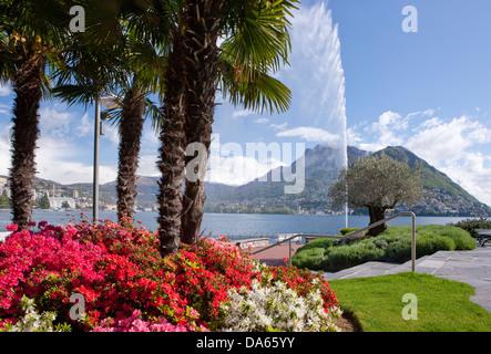 View, Lake Lugano, Monte Bre, lake, lakes, town, city, canton, TI, Ticino, South Switzerland, water, waterfall, - Stock Photo