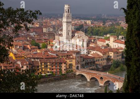 Ponte Pietra, cathedral, dome, Verona, Adige, town, city, Italy, Europe, bridge, river, flow, brook, body of water, - Stock Photo