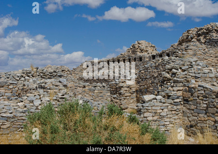 The San Buenaventura Mission and its kivas stand on top of a knoll in the Gran Quivira ruins in central New Mexico. - Stock Photo
