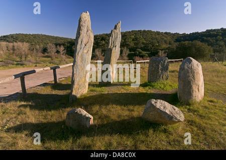 Megalithic monument, Cromlech «Pasada del Abad», Rosal de la Frontera, Huelva-province, Region of Andalusia, Spain, - Stock Photo