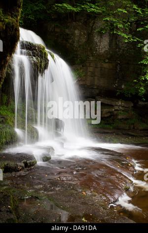 West Burton Waterfall Wensleydale Yorkshire Dales England - Stock Photo