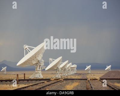 Large radio telescope satellite antennas at the Very Large Array in the desert near Socorro, New Mexico. - Stock Photo