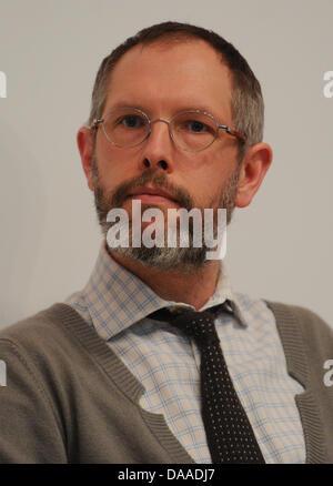 Jan Holmberg, chairman of Stockholm-based Ingmar Bergman Foundation, in the exhibition 'Ingmar Bergman - Thruth - Stock Photo