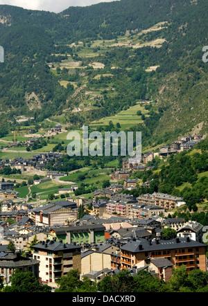 Andorra la Vella, capital city of Andorra state, Andorra, Pyrenees, Europe - Stock Photo