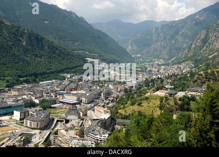 Andorra la Vella, capital city of Andorra state - Stock Photo