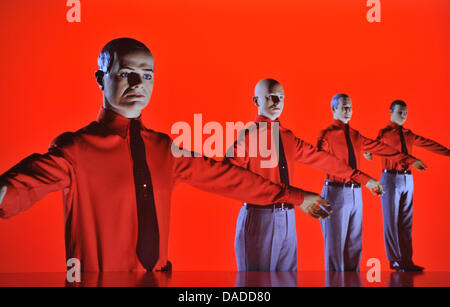 A 3D video installation, in which the musicians from the band Kraftwerk are portrayed, is seen during the video - Stock Photo