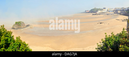 panoramic Tenby South Beach in sea mist                , United Kingdom, Wales, Pembrokeshire - Stock Photo