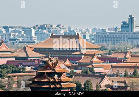 Forbidden City seen from Beihai Park hills in Beijing, China - Stock Photo