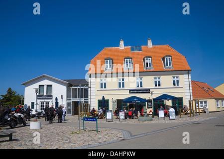 Lokken Denmark EU Visitors at fish restaurant dining out in sunshine in seaside resort on North West Jutland coast - Stock Photo