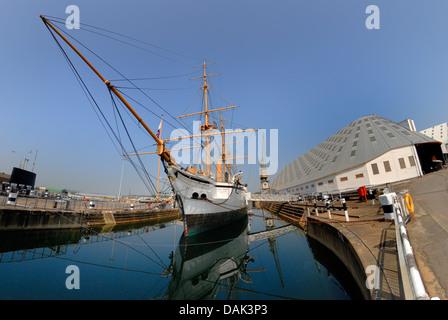 Chatham, Kent, England. Chatham Historic Dockyard. HMS Gannet (1878) - Stock Photo