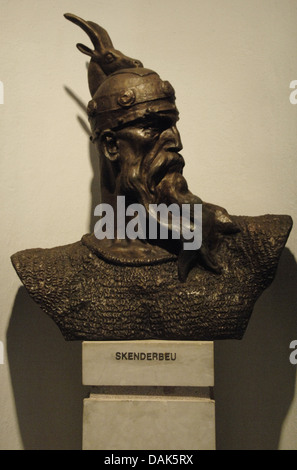 George Kastrioti Skanderbeg (1405-1468). Albanian national hero. Bust. National Skanderbeg Museum. Kruje. Albania. - Stock Photo