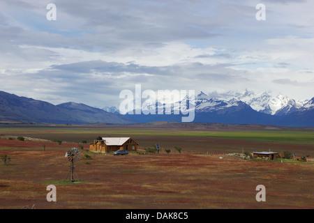 landscape between El Calafate and Perito-Moreno-Glacier, Mountains in the background of National Park Los Glaciares, - Stock Photo