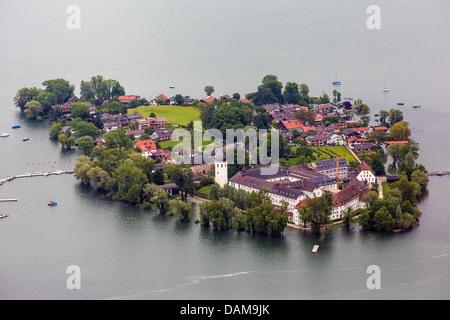 island Fraueninsel in lake Chiemsee flooded in June 2013, Germany, Bavaria, Lake Chiemsee - Stock Photo