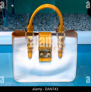 Handbag Miu Miu ( Prada ) Monaco shop French Riviera  fashion house Italy Italian - Stock Photo