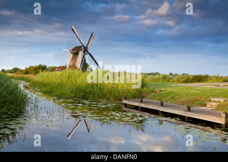 Dutch windmill reflected in river with water lilies - Stock Photo