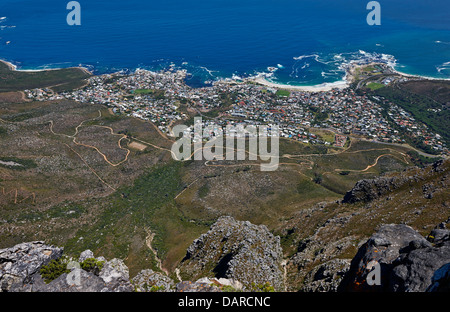 view from Table Mountain Onto Camps Bay, Cape Town, Western Cape, South Africa - Stock Photo