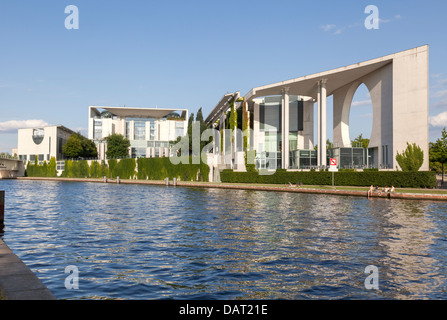 Bundeskanzleramt and River Spree, Berlin, Germany - Stock Photo