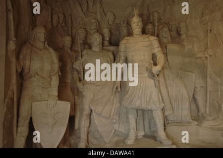 George Kastrioti Skanderbeg (1405-1468). Albanian national hero. Relief. National Skanderbeg Museum. Kruje. Albania. - Stock Photo
