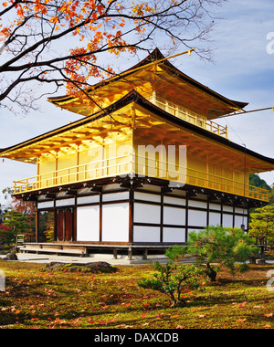 Temple of the Golden Pavilion on Kyoto, Japan. - Stock Photo