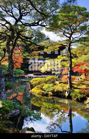Ginkaku-ji Temple in Kyoto, Japan during the fall season - Stock Photo