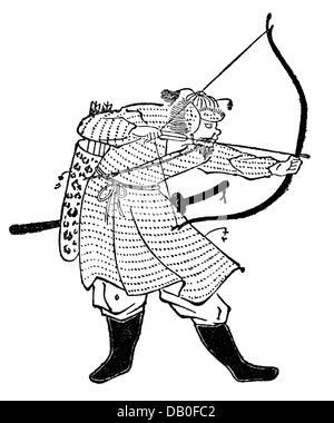 Mongol Invasions in Japan 1274 - 1281, Mongolian archer, drawing, after 'Moko Shurai Ekotoba',between 1275 and 1293, - Stock Photo