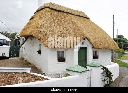 Typical irish thatched roof cottage near Gorey (County Wexford), on June 28.06.2013. - Stock Photo