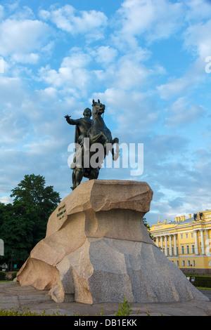 Bronze Horseman (equestrian statue of Peter the Great) at dawn, Saint-Petersburg, Russia - Stock Photo