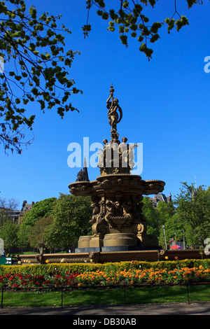 The Ross Fountain inside Princes Street Gardens in Edinburgh, Scotland, UK. - Stock Photo
