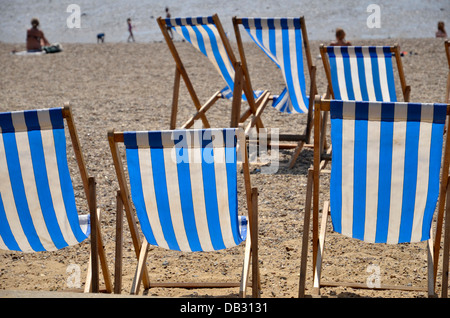Deckchairs on the beach at Southend-on-Sea - Stock Photo