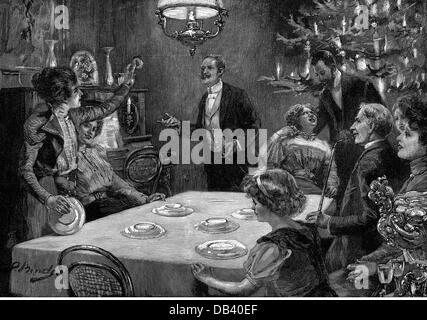 festivities, New Years Eve, grab-a-luck in East Prussia on New Years Eve, after drawing, by Heinrich Binde (1862 - Stock Photo