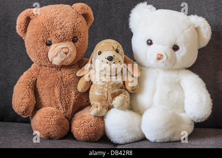 Cute old teddy bears and dog on couch (three) - Stock Photo