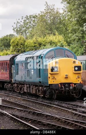 Deltic Diesel Locomotive at Bridgenorth on the Severn Valley Railway, Shropshire, England, UK - Stock Photo