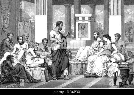 The Seven Sages of Greece, symposia of the seven wise man, Thales of Miletus, Bias of Priene, Periander of Corinth, - Stock Photo