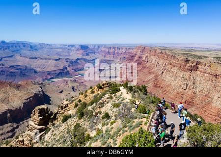 Tourists at Desert View Watchtower Lookout, South Rim, Grand Canyon National Park, Arizona, USA - Stock Photo