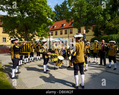 The Herolde of Neubrunn traditional brass band, at a wedding in Veitshöchheim near Wuerzburg, Lower Franconia, Bavaria, - Stock Photo