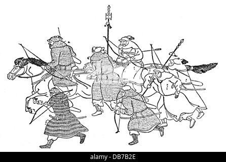Mongol Invasions in Japan 1274 - 1281, attacking Mongolian warriors, drawing, after 'Moko Shurai Ekotoba',between - Stock Photo