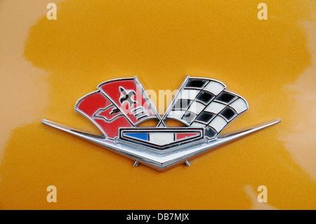 Chevrolet Corvette, logo, emblem, American vintage sports car - Stock Photo